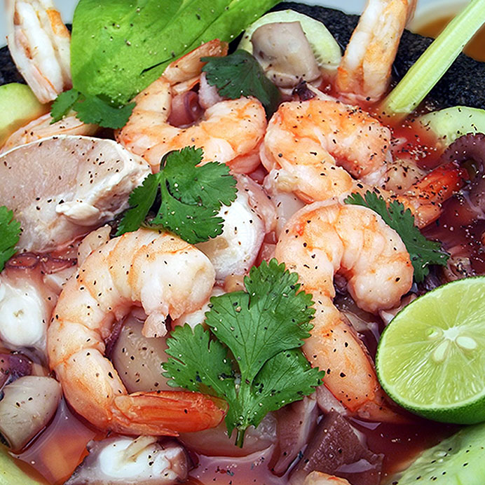 Seafood salad seasoned with a citrus spicy