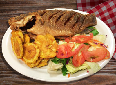 <h4>Whole Fried Tilapia</br>Tilapia Entera Frita… $18 </h4>