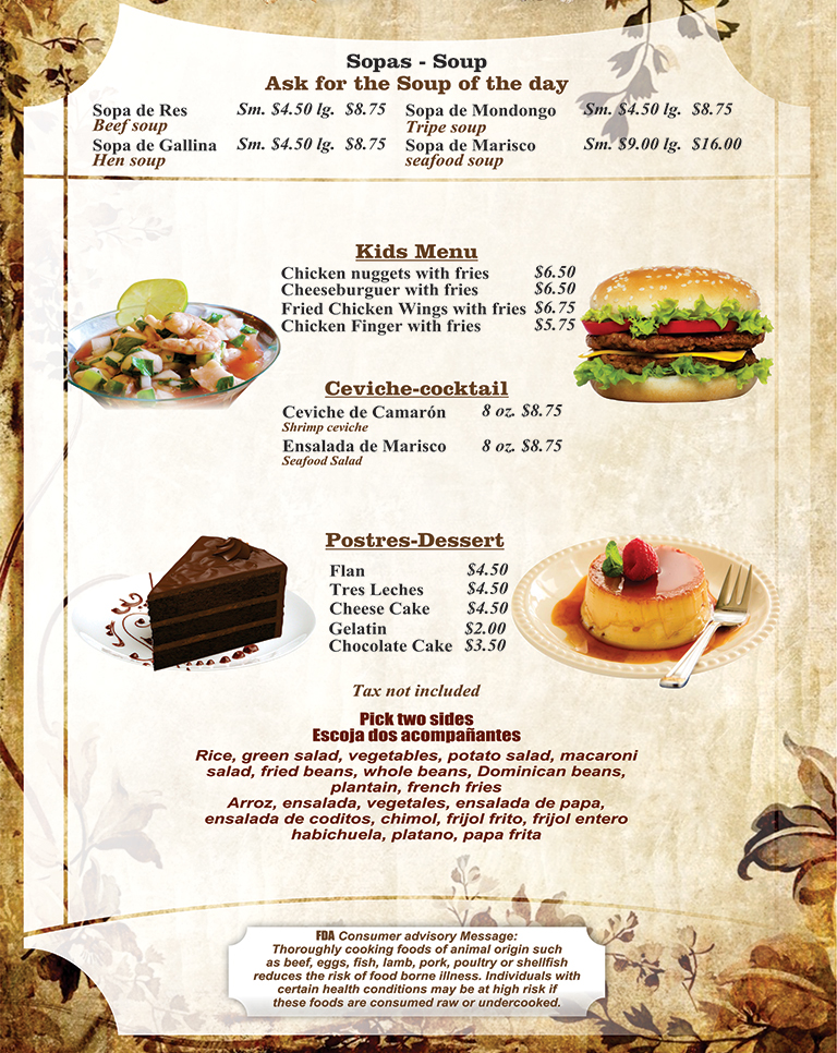 Menu last page - Kids Meals, Soups and deserts