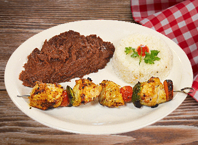 Grilled Chicken or Beef KebabPincho de Res o Pollo… $9.50