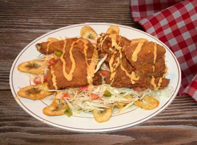 <h4>Green Plantain with Fried Chicken</br>Pollo con Tajadas … $11.99</h4>
