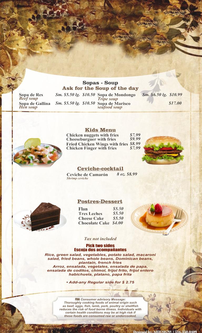 Menu last page - Kids Meals, Soups and deserts